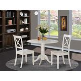 East West Furniture 3 Pc Small Kitchen Table and 2 Dining Chairs, 3 Pieces, Linen White Finish