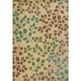 KAS Rugs Zen 5053 Sand Foliage Machine-Made 100% Space-Dyed Polyester Area Rug 9 1/2 x 13