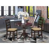 East West Furniture ANPF3-CAP-C 3 Pieces Set – 2 Chairs with Linen Fabric Seat and Ladder Back-Round Top and Pedestal Legs Dining Table (Cappuccino Finish), Cushion