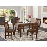 East West Furniture CANO5-MAH-C Kitchen Table Set 5 Pc - Linen Fabric Dining Chairs Seat - Mahogany Finish Small Rectangular Table and Structure
