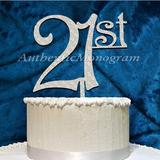 aMonogram Art Unlimited 21St Cake Topper Wood in Blue | Wayfair 94213P-bluelagoon