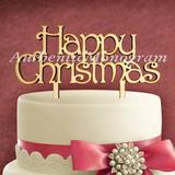 aMonogram Art Unlimited Happy Christmas Cake Topper Wood in Blue | Wayfair 94129P-bluelagoon