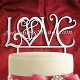 aMonogram Art Unlimited Love Cake Topper Wood in Blue | Wayfair 942082P-azure