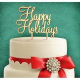 aMonogram Art Unlimited Happy Holidays Cake Topper Wood in Green | Wayfair 94123P-treefroggreen