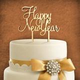 aMonogram Art Unlimited Happy New Year Cake Topper Wood in Yellow | Wayfair 94124P-goldglitter