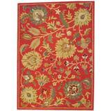 Herat Oriental Hand-Tufted Dark Red/Gold Area RugWool in Brown, Size 84.0 H x 84.0 W x 0.5 D in   Wayfair WF-TSMZ27R-57