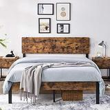 YAHEETECH Queen Size Rustic Style Premium Metal Bed Frame Vintage Platform Bed Bedframe with Wood Headboard/Storage for Queen Size Bed No Box Spring Needed, Anit-Slip Support