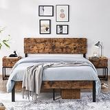 YAHEETECH Full Size Rustic Style Premium Metal Bed Frame Vintage Platform Bed Bedframe with Wood Headboard/Storage for Full Size Bed No Box Spring Needed, Anit-Slip Support