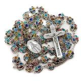 Nazareth Store Colorful Zirconia Crystal Beads Rosary Silver Catholic Necklace with Miraculous Medal Cross Crucifix Multicolor Rosaries in Velvet Bag