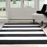 "Lavish Home Breton Stripe Area Rug, 5' by 7'7"", Black/White"