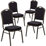 Flash Furniture 4 Pack HERCULES Series Crown Back Stacking Banquet Chair in Black Patterned Fabric - Gold Vein Frame