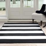 "Lavish Home, Black/White Breton Stripe Area Rug, 3'3"" by 5', 3'3"" x 5'"
