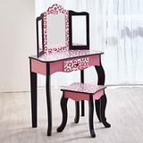 Teamson Kids Gisele Leopard Print Wooden Vanity Set with Tri-Fold Mirror Table and Chair, Pink/Black