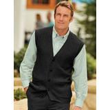 Men's John Blair Cable-Front Vest, Black L Tall