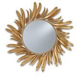 Currey and Company 1108 Folium Circular Wrought Iron Mirror Contemporary Gold Leaf