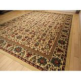 Large 8'x11' Traditional Cream Rugs Floral Area Rugs Persian Isfahan 8x10 Rug Dining Room Carpet Area Rugs 8x10 Clearance Under 100 (Large 8'x11' Rug)