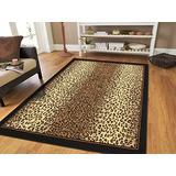 Brown Checkered Cheetah Rug Animal Print Rectangle Leopard Rug 5x7 Rug Brown Black Cream Rugs Leopard 5x8 Modern Rugs for Living Room (Medium 5'x8' Rug)
