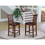 East West Furniture Vernon counter height chairs-Faux Leather Seat and Mahogany Hardwood Frame counter height chairs set of 2