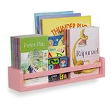 Childrens Wall Mounted Floating Shelf for Nursery Decor Kid's Room Bookshelf Display Books and Toy Organizer - Ships Assembled (Light Pink)