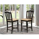 East-West Furniture Chelsea Stools counter height chairs set of 2- Microfiber Upholstery Seat and Black Solid wood Frame outdoor counter height chairs