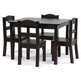 Humble Crew Kids Wood Table & 4 Chair Set, 5-Piece, Espresso
