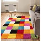 """Well Woven Modern Rug Squares Multi Geometric Accent 3'3"""" x 5' Area Rug Entry Way Bright Kids Room Kitchn Bedroom Carpet Bathroom Soft Durable Area Rug"""