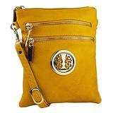 MKF Crossbody Bag for Women – Adjustable Strap – PU Leather Designer Crossover Lady Handbag Small Messenger Purse Yellow