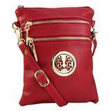 MKF Crossbody Bag for Women – Adjustable Strap – PU Leather Designer Crossover Lady Handbag Small Messenger Purse Red