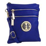 MKF Crossbody Bag for Women – Adjustable Strap – PU Leather Designer Crossover Lady Handbag Small Messenger Purse Blue