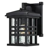 """Westinghouse 62045 - 1 Light (Medium Screw Base) 11.25"""" Lantern Textured Black with Clear Water Glass Wall Light Fixture with Dusk to Dawn Sensor"""