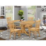 East West Furniture Kitchen table set 4 Wonderful dining room chairs - A Wonderful round wooden dining table- Oak Color Wooden Seat Oak Butterfly Leaf dining room table