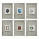 Uttermost Agate Stone Shadow Box Framed Wall Art 6-piece Set, Multicolor, Small