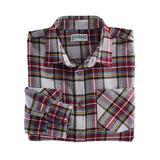 Haband Long Sleeve Mens Yarn Dyed Brushed Flannel Shirt, Grey Plaid, Size M