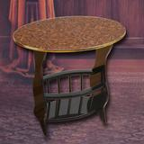 """Uniquewise End Table, Wood/Solid Wood in Cherry Brown, Size 22""""H X 24""""W X 15""""D 