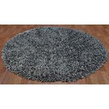 Grey Shimmer Shag (5'x5') Round Rug