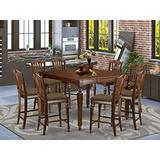 East West Furniture CHEL9-MAH-C Square Counter Height Table8 Stools Set 9 Pc-Linen Fabric Kitchen Chairs Seat-Mahogany Finish Dining Room Table and Frame