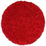 Red Shimmer Shag (2'x2') Round Rug