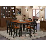 7 Pc counter height Table set-Square gathering Table and 6 Stools