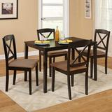 August Grove® Scarlett 5 - Piece Rubberwood Solid Wood Dining SetWood/Upholstered Chairs in Brown, Size 29.0 H x 28.0 W x 45.0 D in   Wayfair