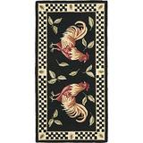 """Safavieh Vintage Poster Collection VP320A Handmade Rooster Novelty Premium Wool Accent Rug, 2'6"""" x 5', Black / Ivory"""
