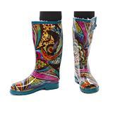 Gilbins Women's Rubber Rain Snow Boot, Mid Calf Knee High Waterproof Rainboots