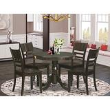 East West Furniture Dinette Set- 4 Great wooden Chairs - A Stunning wood kitchen table- Wooden Seat and Cappuccino kitchen table