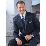 Haband Mens Fit Forever Gabardine Suit Jacket, Navy Pencil Stripe, Size 42 Reg, R