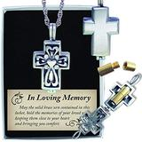 Cathedral Art (Abbey & CA Gift Memorial Cross Pewter Locket with Mini Urn Includes 24 Inch Chain, Silver