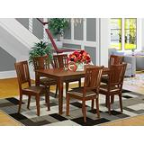 East West Furniture Small Dining Table Set 7 Pc - Faux Leather Modern Dining Chairs Seat - Mahogany Finish Wood Table and Structure