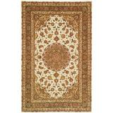 Safavieh Persian Court Oriental Handmade Tufted Ivory/Light Olive Area Rug Silk/Wool in Green/White, Size 72.0 H x 72.0 W x 0.5 D in | Wayfair