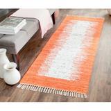 Beachcrest Home™ Ona Abstract Handmade Flatweave Cotton Ivory/Orange Area Rug Cotton in Brown/Orange, Size 108.0 H x 0.25 D in | Wayfair