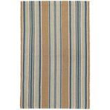 Dash and Albert Rugs Blue Heron Stripe Flatweave Brown/Blue Area Rug Polyester in White, Size 60.0 H x 36.0 W x 0.25 D in   Wayfair DA142-35