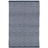 Dash and Albert Rugs Diamond Geometric Handmade Flatweave Navy/Ivory Indoor/Outdoor Area Rug Polypropylene in Brown/White, Size 60.0 W x 0.25 D in