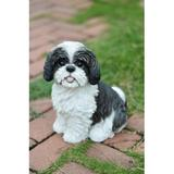 Hi-Line Gift Ltd. Sitting Dog Shih Tzu Statue Resin/Plastic in Black/White, Size 11.0 H x 6.0 W x 11.0 D in | Wayfair 87762